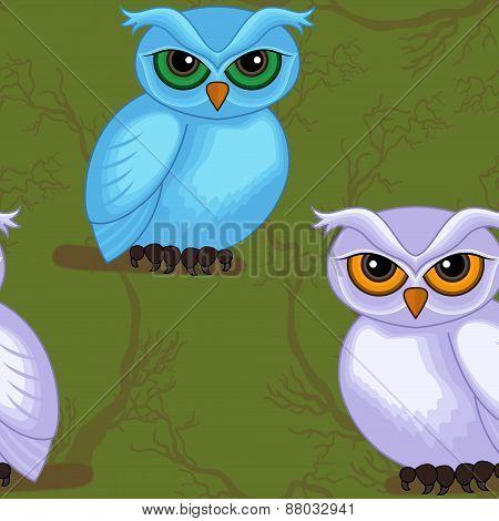 Seamless Artwork Pattern With Cartoon Owls