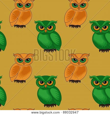 Seamless Pattern With Cartoon Owls
