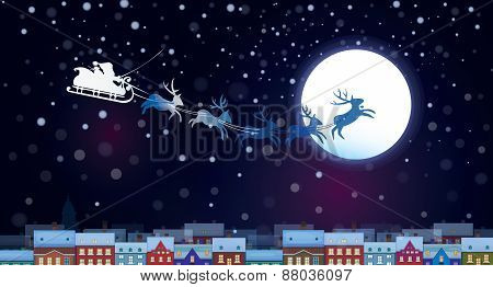 Vector Santa Claus Sleigh on sky background cityscape nightscene.