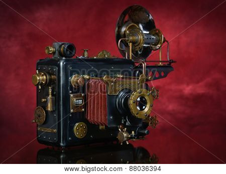 Steampunk On A Red Background