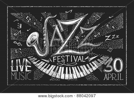 Poster of Jazz festival on the chalkboard