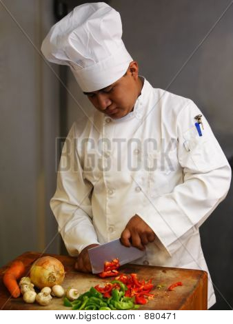 Chef Cutting Vegetables