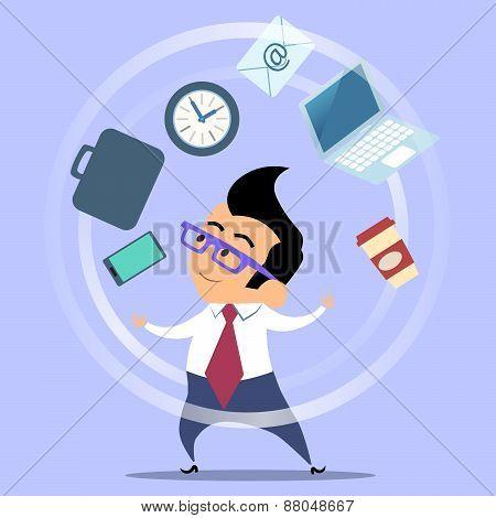 Office Worker Planning Time Juggler Businessman