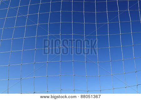 Soccer Net Background With Blue Sky