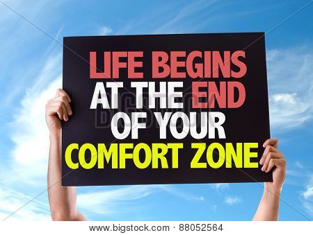 Life Begins at the End of Your Comfort Zone card with sky background