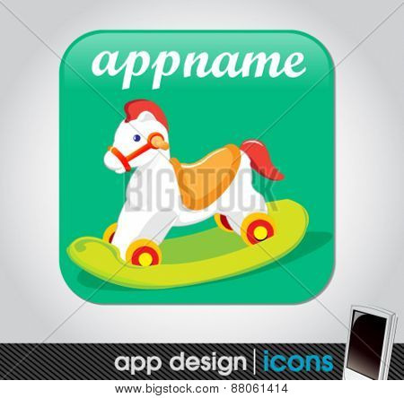 toy app for mobile devices with a wooden horse