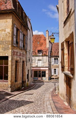 Old street with boulangerie, Burgundy, France