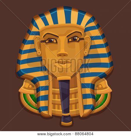 Icon golden pharaoh head. Vector illustration