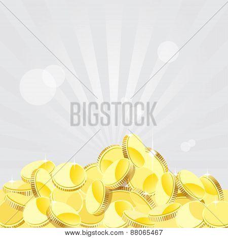 Golden Coins Background , Vector Illustration