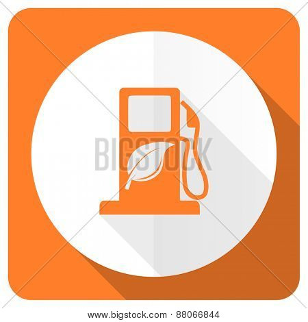 biofuel orange flat icon bio fuel sign
