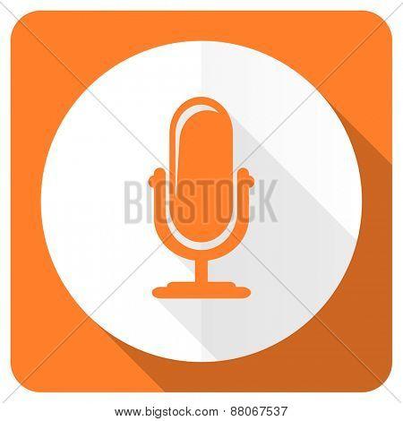 microphone orange flat icon podcast sign