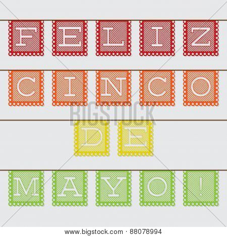 Mexican 'papel Picado' (paper Flag Decoration) Card In Vector Format.