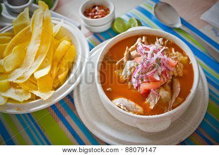 Encebollado, fish stew, typical ecuadorian dish.