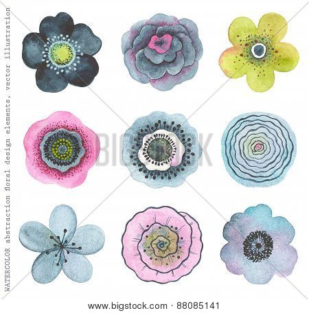 Collection colorful watercolor flowers, abstract in vintage style.