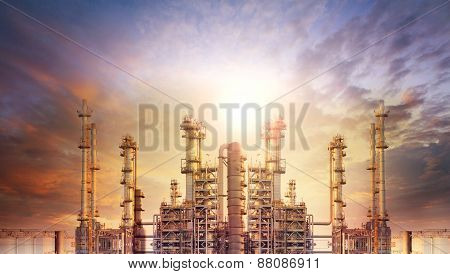 exterior tube of petrochemical plant and oil refinery for produce industrial matterial in heaviy petroleum industry estate against beautiful sun light sky poster