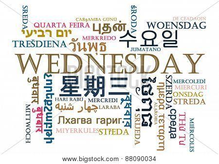 Background concept wordcloud multilanguage international many language illustration of Wednesday day