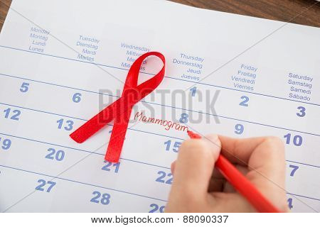 Mammography Appointment On Calendar