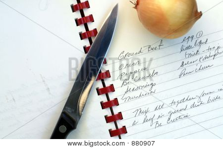 Hand Written Recipe, Onion & Knife