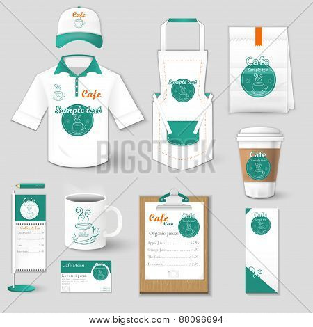 Set of restaurant corporate identity, burgers, uniform, flyer, shirt, cup, menu, package, apron,  co