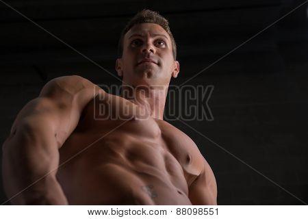 Handsome shirtless bodybuilder shot from below angle, standing on dark background poster