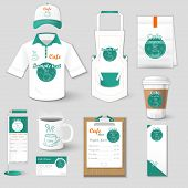 Set of restaurant corporate identity, burgers, uniform, flyer, shirt, cup, menu, package, apron,  coffee cup vector illustration poster