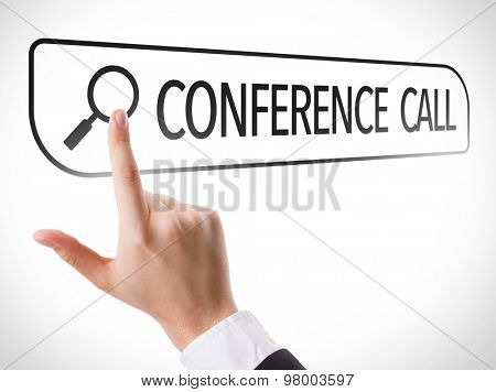 Conference Call written in search bar on virtual screen