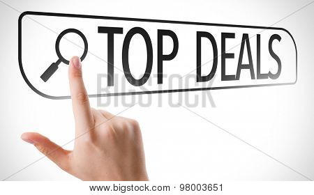 Top Deals written in search bar on virtual screen poster