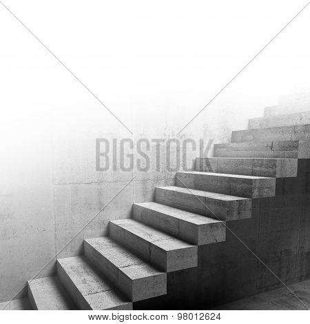 Cantilevered Stairs Construction On The Wall, 3D
