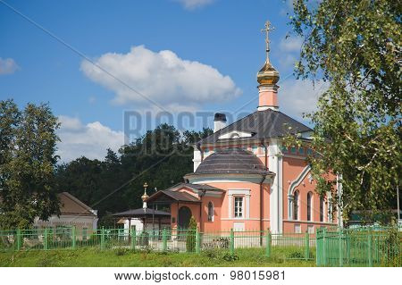 The temple in honor of All Sacred in Optina Pustyn. poster