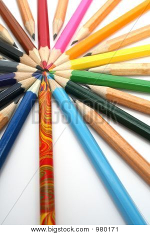 Color Pencils Have Settled Down Around Of The Colour Leader