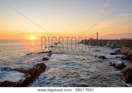 Sunset at Pacific Ocean and Point Arena Lighthouse