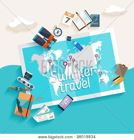 Summer travel. Flat design.