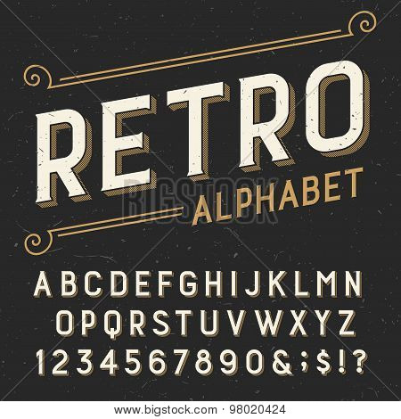 Retro alphabet vector font.