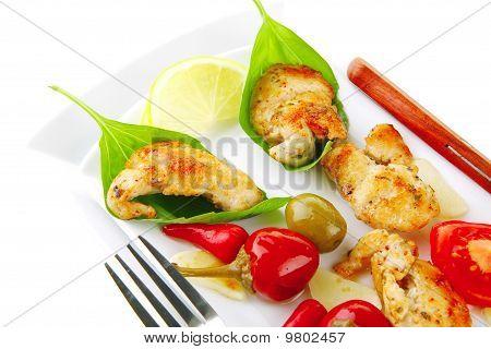 Chicken Chunks On Basil