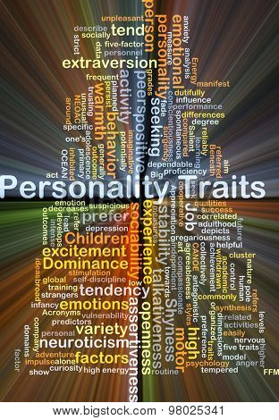 Background concept wordcloud illustration of personality traits glowing light