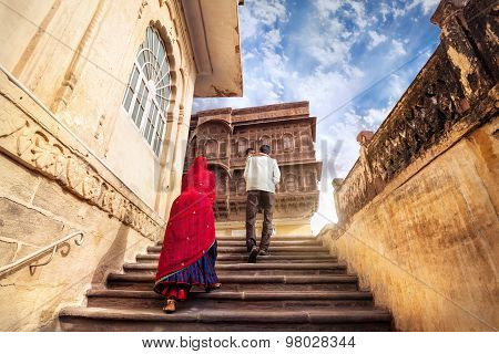 Indian Family In Mehrangarh Fort
