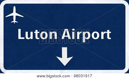 London Luton England United Kingdom Airport Highway Sign