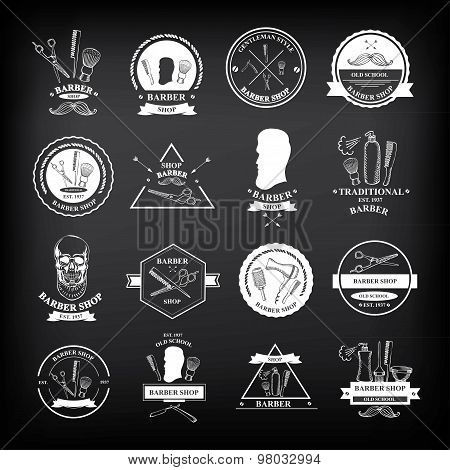 Barber shop labels and design badges,vector icons.