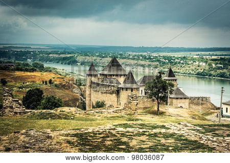 scenic view on Ukrainian Khotyn Fortress poster