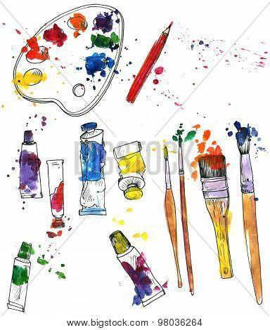set of art materials