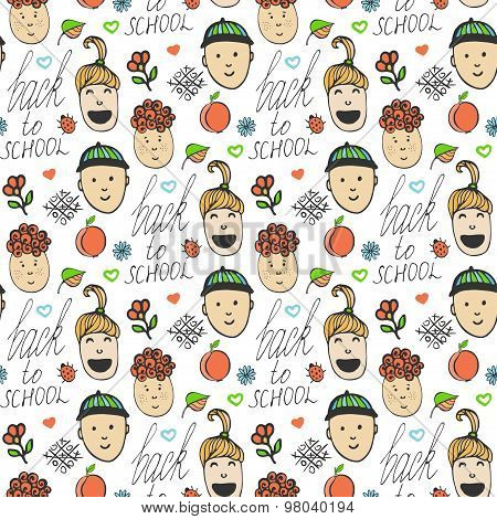 Back to school. Sketched seamless pattern with colorful school children. Funnny kids. Autumn