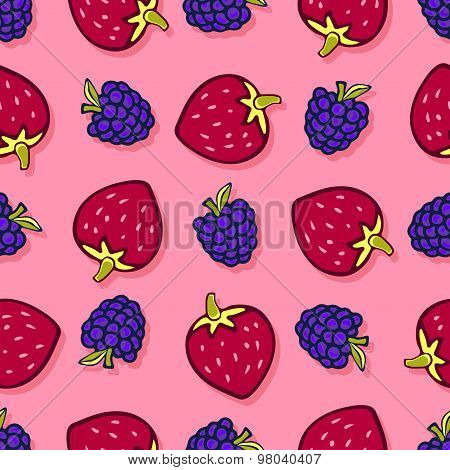 Blackberry and strawbeerry seamless pattern. Vector doodle berries design