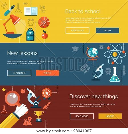 Set of flat design flyers, headers, banners with school and college icons, infographics elements