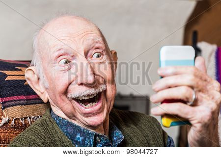 Elderly Gentleman With Smartphone