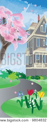 Heritage House in Spring Banner
