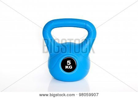 Blue Kettlebell On White Background