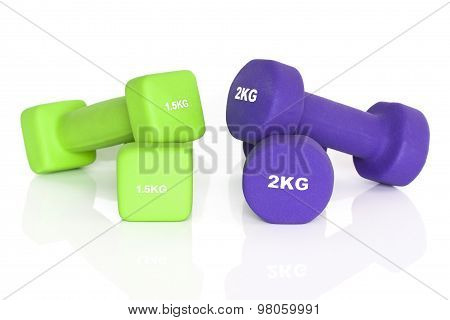 Green And Purple Fitness Dumbbells