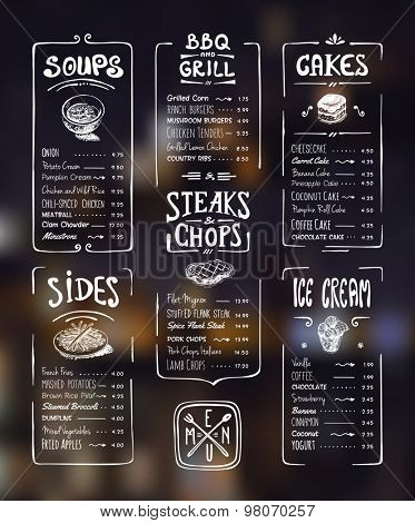 Menu template. White drawing on dark background. Soups, sides, bbq & grill, steaks & chops, cakes, ice cream