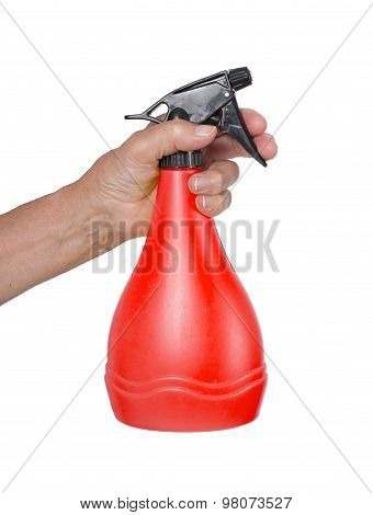Sprayer In The Hand Of An Old Woman