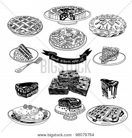 Vector hand drawn set with cakes and sweets.